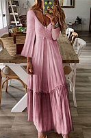Long Sleeve Plain Ruched Hem Maxi Dress
