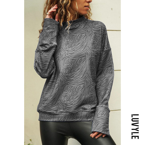 Gray Turtle Neck Long Sleeve Printed Casual T-Shirts Gray Turtle Neck Long Sleeve Printed Casual T-Shirts