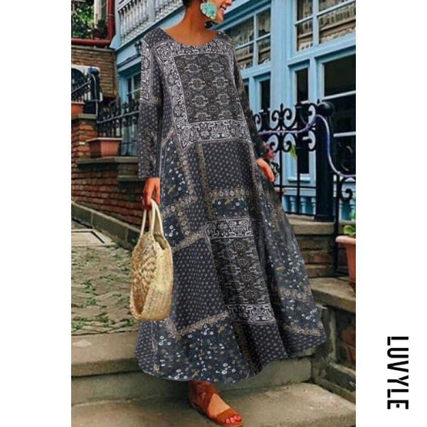 Round Neck Long Sleeve Printed Maxi Dress