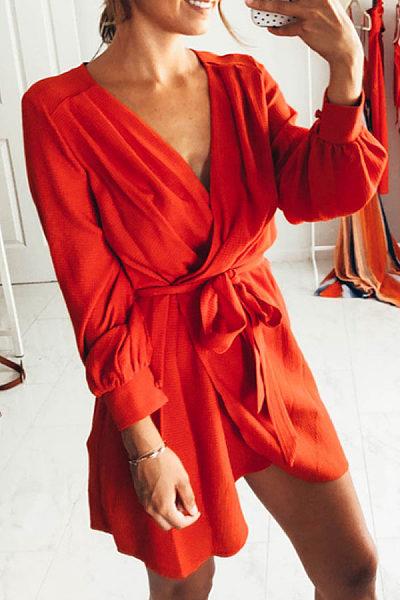 Surplice  Asymmetric Hem  Belt  Plain  Sleeveless Casual Dresses