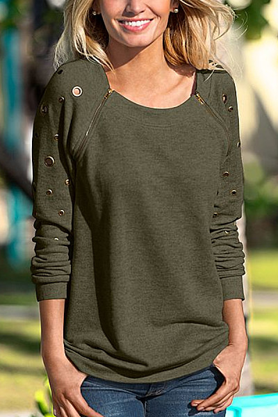 Round Neck  Zipper  Plain  Sweatshirts