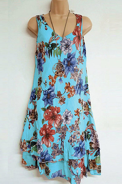 Casual V Neck Floral Sleeveless Dress