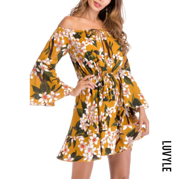Yellow Off Shoulder Floral Printed Bell Sleeve Long Sleeve Skater Dresses Yellow Off Shoulder Floral Printed Bell Sleeve Long Sleeve Skater Dresses