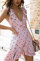 V Neck  Backless  Dot  Sleeveless Skater Dresses