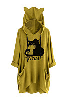 Casual ear hooded cat print irregular sweatshirt