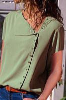 Asymmetric Neck  Single Breasted  Plain Blouses