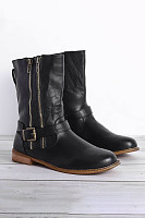 Distressed Zips Round Toe Boots