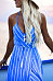 Halter  Asymmetric Hem  Belt  Striped  Sleeveless Maxi Dresses