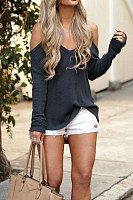 Casual One Shoulder Pure Color Shirt