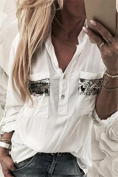 Casual Long Sleeve Glitter Shirt