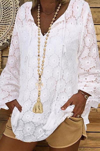 Solid Color Long Sleeve V-Neck Loose Blouse