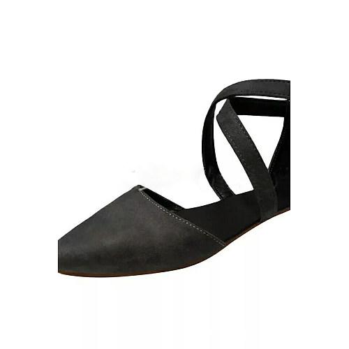 Plain Flat Velvet Point Toe Date  Flat Sandals