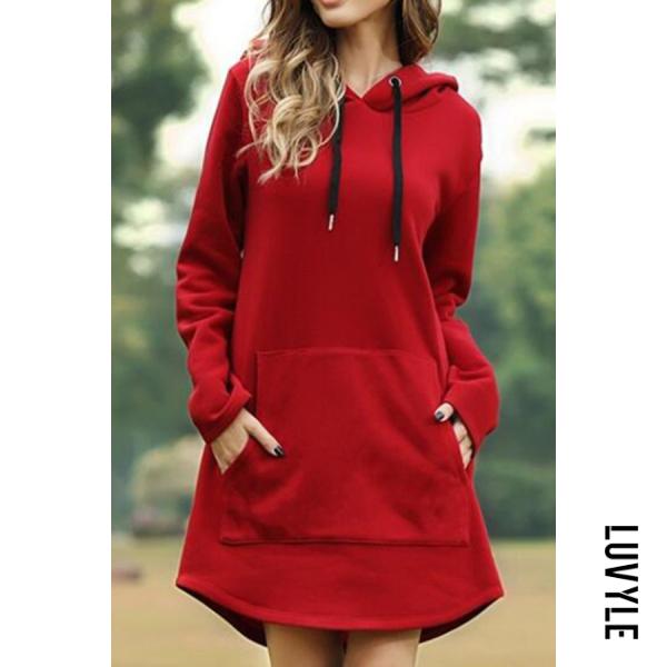 Red Solid Color Pocket Long Sleeve Hoodie Dress Red Solid Color Pocket Long Sleeve Hoodie Dress
