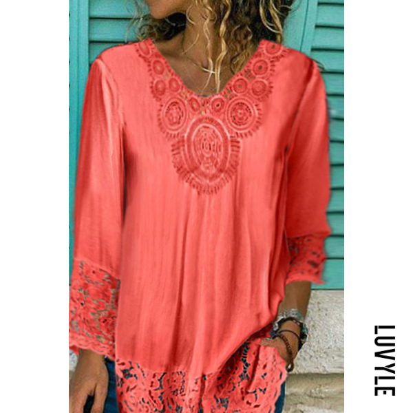 Lace pullover loose short sleeve casual top