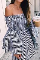 Spaghetti Strap  Cascading Ruffles Smocked Bodice  Checkered  Bell Sleeve  Long Sleeve Skater Dresses