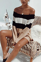 Off  Shoulder  Backless  Striped Sweaters