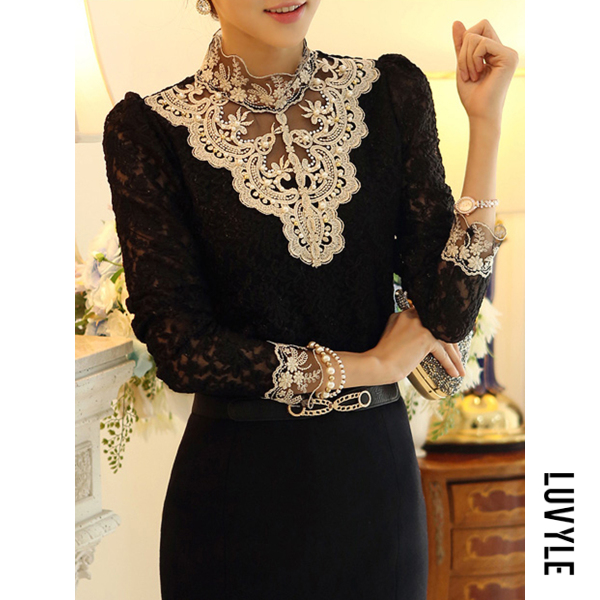 Black Band Collar Beading Lace Hollow Out Long Sleeve T-Shirt Black Band Collar Beading Lace Hollow Out Long Sleeve T-Shirt