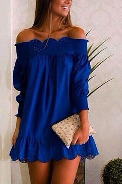 Off Shoulder  Plain  Long Sleeve Casual Dresses