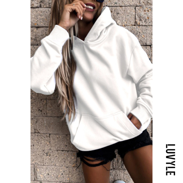 White Solid Color Loose Casual Hoody White Solid Color Loose Casual Hoody