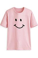 Round Neck Short Sleeve Smile T-shirt