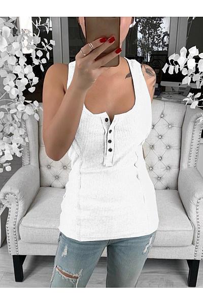 Casual Sexy Button Sleeveless T-Shirt