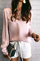 Round Neck Long Sleeve Plain Blouse