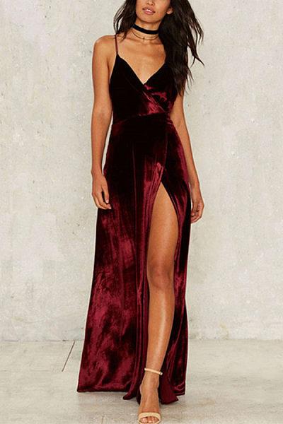 Spaghetti Strap High Slit Maxi Dresses