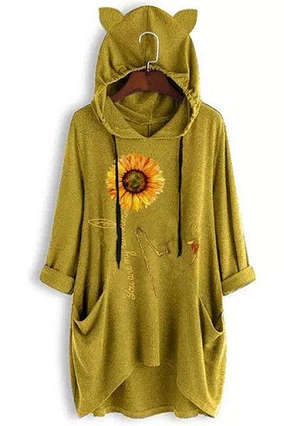 Sweet Sunflower Printed Colour Hoodie