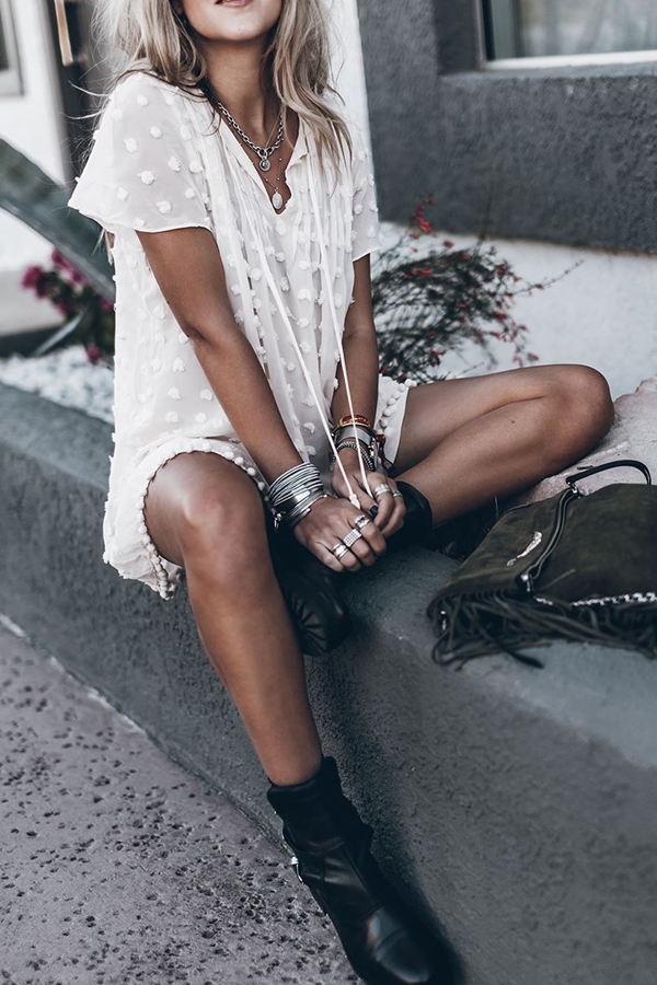 Spring Look - Cute White Boho Casual Dress with pompoms