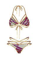 Halter  Contrast Trim Strappy Printed Bikini