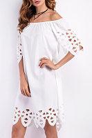 Collarless  Loose Fitting  Plain  Half Sleeve Casual Dresses