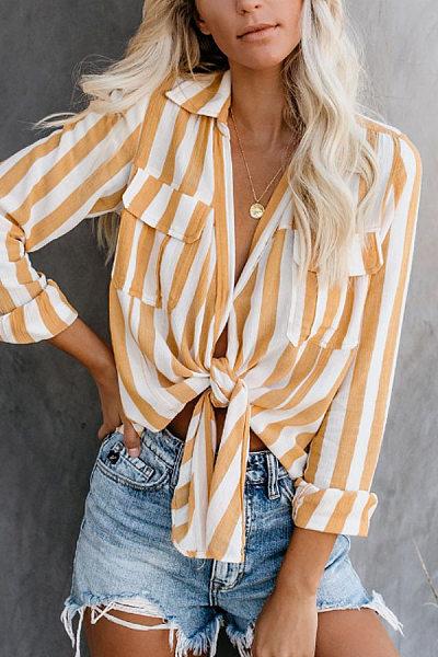 V Neck  Flap Pocket  Striped Blouses