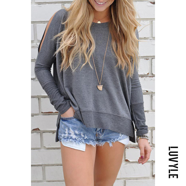 Gray Round Neck Bow Cutout Side Vented Plain T-Shirts Gray Round Neck Bow Cutout Side Vented Plain T-Shirts