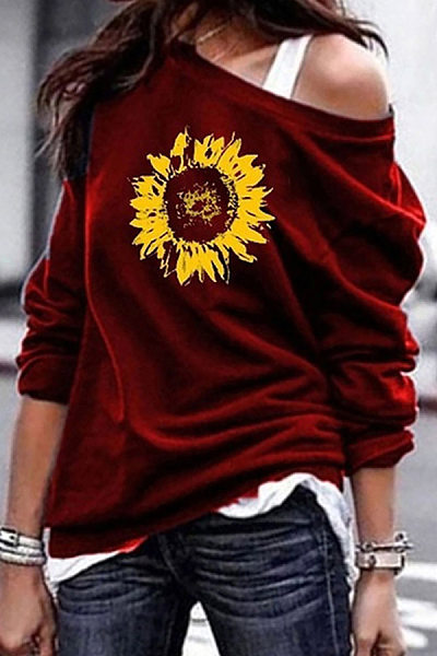 Casual Printed Colour Long Sleeve Loose Sweatshirt