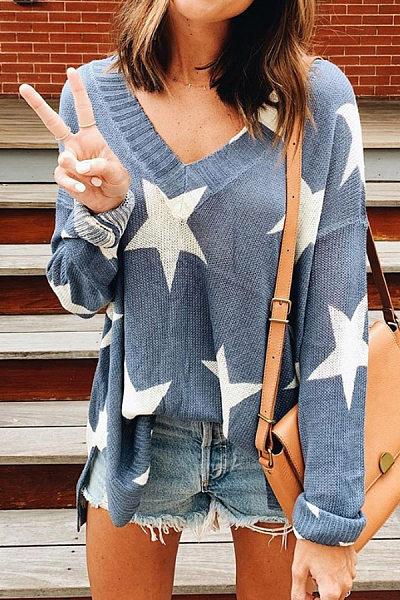 V Neck Star Knit Sweater