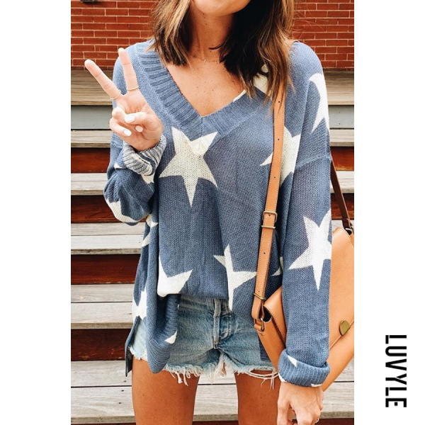 V Neck Star Knit Sweater - from $28.00