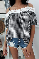 Spaghetti Strap  Gingham Patchwork  Blouses