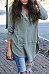 Round Neck  Asymmetric Hem Patchwork Single Breasted  Plain T-Shirts