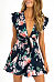 Deep V Neck  Floral Printed  Extra Short Sleeve Skater Dresses