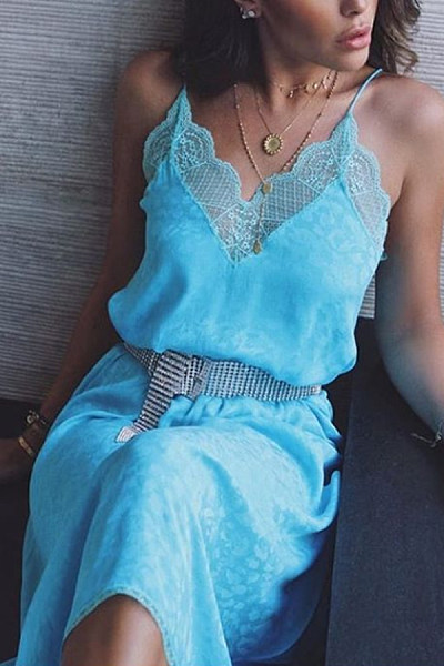 Sexy Lace Sling Hollow Out Pure Colour Dress