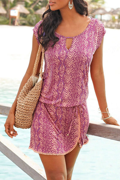 Round Neck  Printed  Short Sleeve Casual Dresses