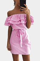 Off Shoulder  Flounce  Belt  Striped Bodycon Dresses