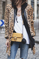 Leopard  Printed  Basic  Outerwear