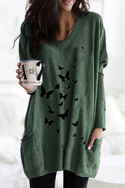 Simple Fashion Printed V Neck T-Shirt