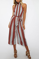 Halter  Belt  Stripes  Sleeveless Jumpsuits