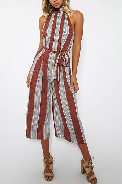 Halter  Belt  Stripes  Sleeveless Jumpsuits