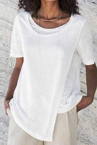 Casual Round Neck Short Sleeve Fake Two-piece Top
