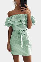 Off Shoulder  Flounce  Belt  Striped Bodycon Dresses
