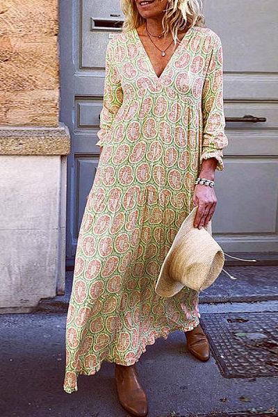V Neck Flower Print  Maxi Dress