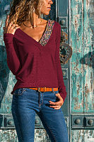 V Neck  Plain Printed T-Shirts